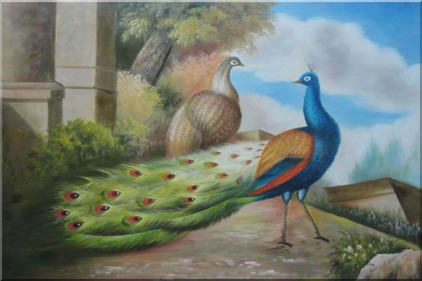 A Peahen and A Blue Peacock Together Oil Painting Animal Classic 24 x 36 Inches
