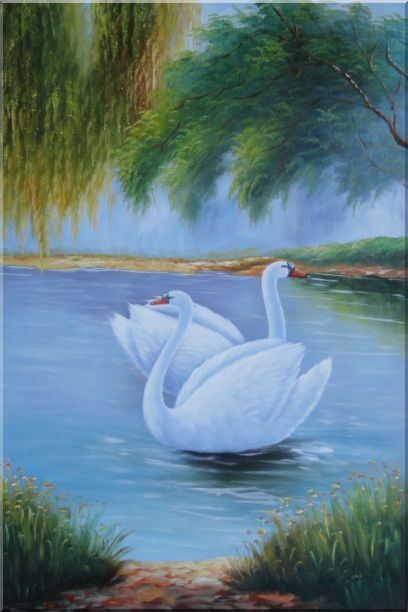 Pair of White Swans Enjoy Pleasant Time On Lake Oil Painting Animal Naturalism 36 x 24 Inches