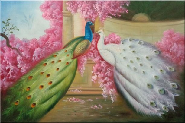 White and Blue Peacocks with Pink Flowers in Palace Oil Painting Animal Naturalism 24 x 36 Inches