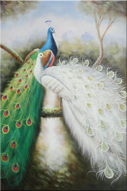Blue and White Peacock Pair on Tree Branch Oil Painting Animal Naturalism 36 x 24 Inches