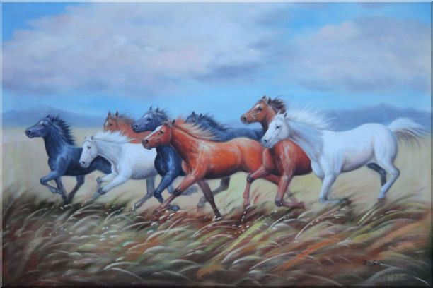Eight Horses On The Prairie Oil Painting Animal Naturalism 24 x 36 Inches