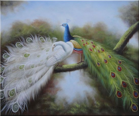 Pair of White and Blue Peacocks in Forest Oil Painting Animal Naturalism 20 x 24 Inches