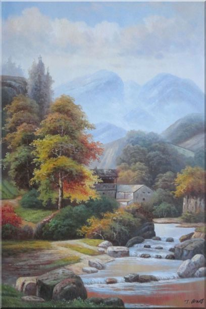 Village House in Mountain Valley with Small Cascade Waterfall Autumn Scenery Oil Painting Landscape River Classic 36 x 24 Inches