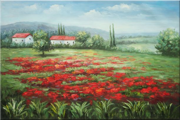 Small Hut Surrounded by Poppies in Tuscany, Italy Oil Painting Landscape Field Impressionism 24 x 36 Inches