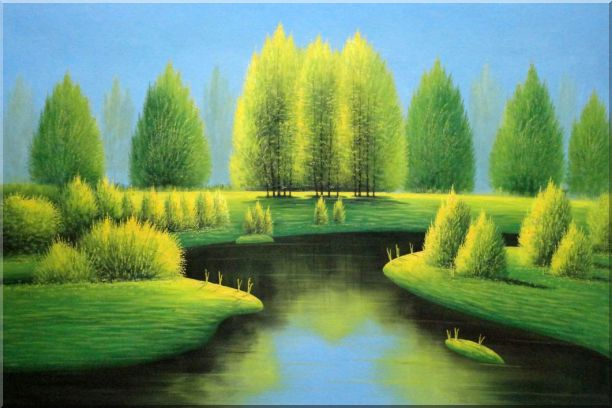 Spring in Jiuzhai Valley - 2 Canvas Set 2-canvas-set,landscape,river naturalism  24 x 72 inches