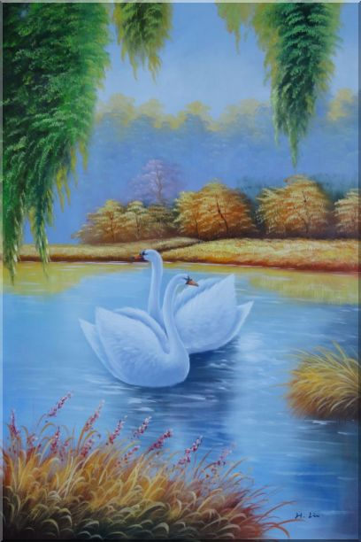 Pair of Swans in Lake Oil Painting Animal Naturalism 36 x 24 Inches