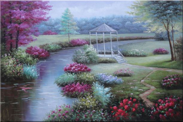 Graceful Flower Garden at Riverside Oil Painting Landscape Naturalism 24 x 36 Inches