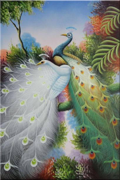 Blue and White Peacocks with Beautiful Feathers Oil Painting Animal Naturalism 36 x 24 Inches