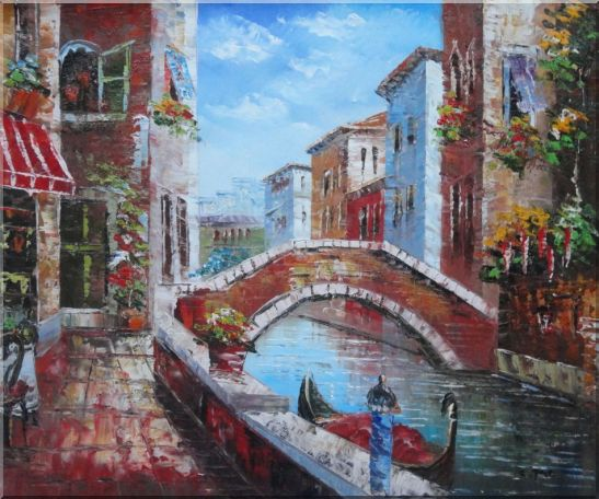 Pleasant Noon Time At Tranquil Street of Venice Oil Painting Italy Impressionism 20 x 24 Inches
