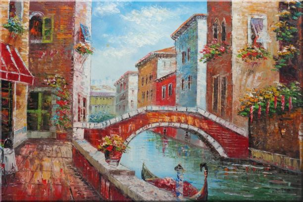 Pleasant Noon Time At Tranquil Street of Venice Oil Painting Italy Impressionism 24 x 36 Inches