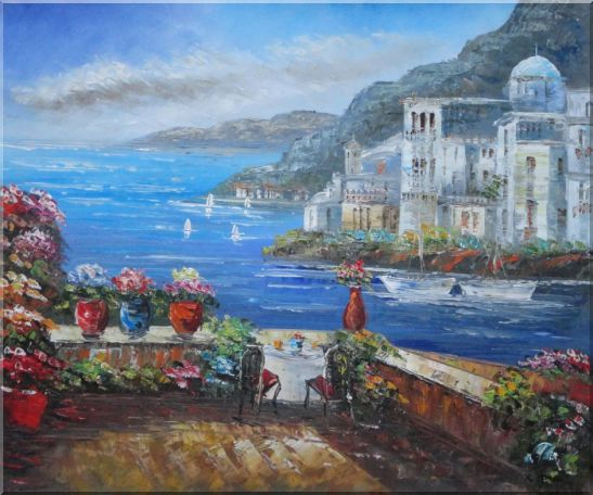 Wonderful Mediterranean Retreat Overlook Sea Coast And Mountain Oil Painting Impressionism 20 x 24 Inches