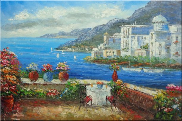 Wonderful Mediterranean Retreat Overlook Sea Coast And Mountain Oil Painting Impressionism 24 x 36 Inches