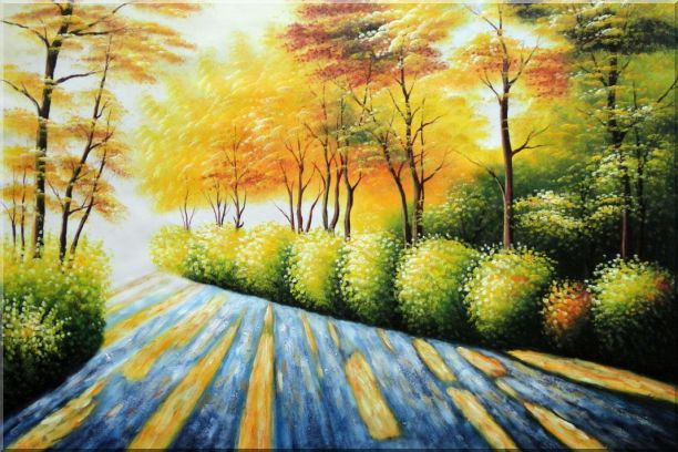 Road in Golden Sunshine Oil Painting Landscape Tree Autumn Naturalism 24 x 36 Inches