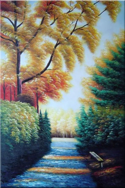 A Path to Golden Yellow Forest Oil Painting Landscape Tree Naturalism 36 x 24 Inches