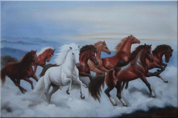 Eight Horses Galloping in the Wild Oil Painting Animal Naturalism 24 x 36 Inches