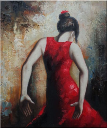 Flamenco Beauty Oil Painting Portraits Woman Dancer Impressionism 24 x 20 Inches