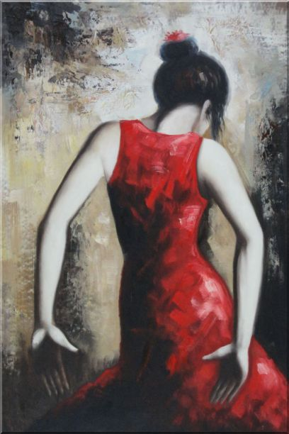 Flamenco Beauty Oil Painting Portraits Woman Dancer Impressionism 36 x 24 Inches
