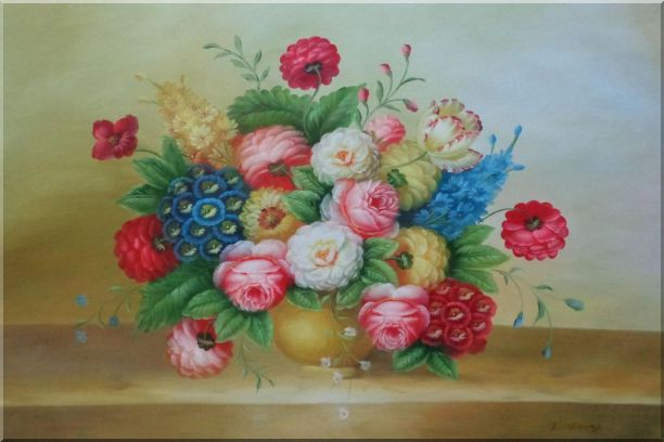 Classic Flowers Still Life Painting Oil Bouquet 24 x 36 Inches