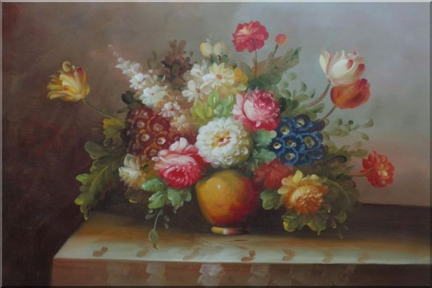 Colorful Flower Bouquet Oil Painting Still Life Classic 24 x 36 Inches