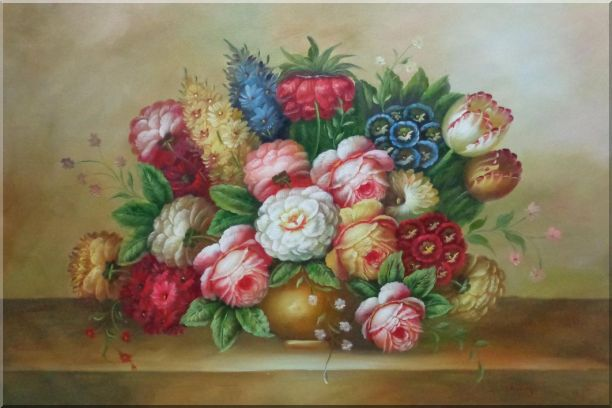 Vase of Colorful Flowers Oil Painting Still Life Bouquet Classic 24 x 36 Inches