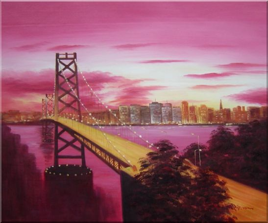 Bay Bridge To San Francisco From Treasure Island Oil Painting Cityscape America Modern 20 x 24 Inches