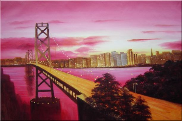 Bay Bridge To San Francisco From Treasure Island Oil Painting Cityscape America Modern 24 x 36 Inches