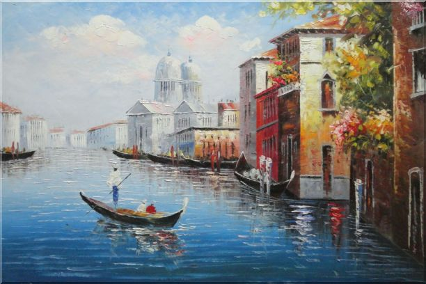 Enjoying Venice on Gondola Oil Painting Italy Naturalism 24 x 36 Inches