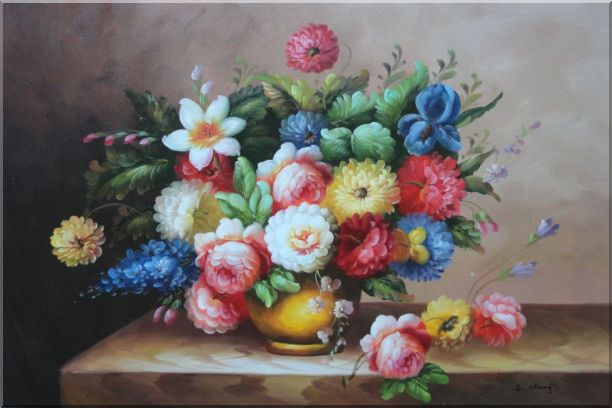 Still Life Of Roses And Other Flowers Oil Painting Bouquet Classic 24 x 36 Inches