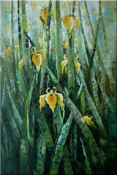Yellow Iridaceae Flower Oil Painting Impressionism 36 x 24 Inches