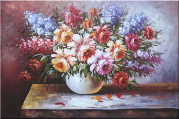 Beautiful Still Life FlowersIn Vase Oil Painting Naturalism 24 x 36 Inches