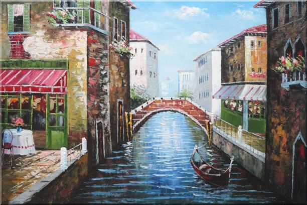 Sunny Day In Venice Oil Painting Italy Naturalism 24 x 36 Inches