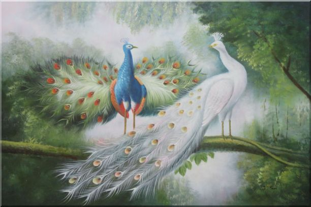Couple of Peacocks on Display Oil Painting Animal Naturalism 24 x 36 Inches