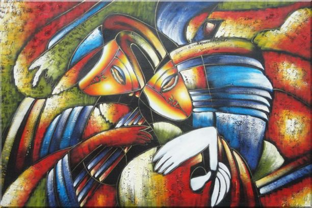Couple Playing Musics, Picasso Reproduction Oil Painting Portraits Modern Cubism 24 x 36 Inches