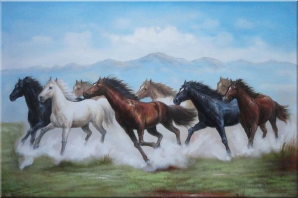 8 Running Horses on the Prairie Oil Painting Animal Naturalism 24 x 36 Inches