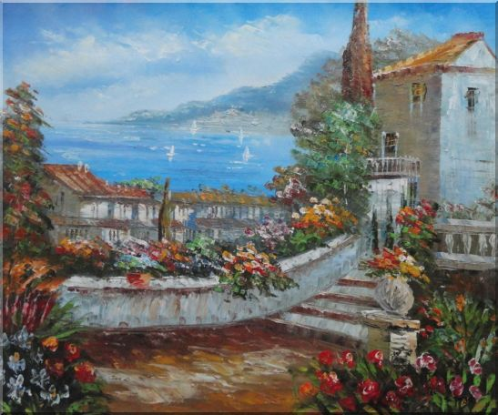 Colorful Walkway at Mediterranean Villa Oil Painting Impressionism 20 x 24 Inches