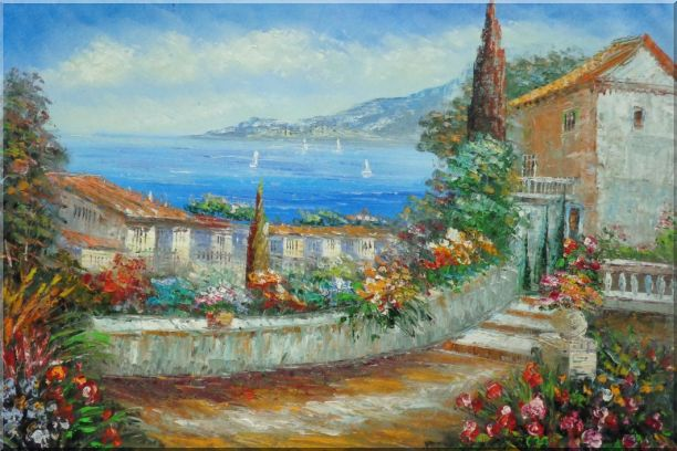 Colorful Walkway at Mediterranean Villa Oil Painting Impressionism 24 x 36 Inches