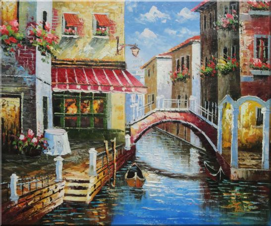 Venice Canal with Bridge and Gondolas in Summer Bright Day Oil Painting Italy Naturalism 20 x 24 Inches