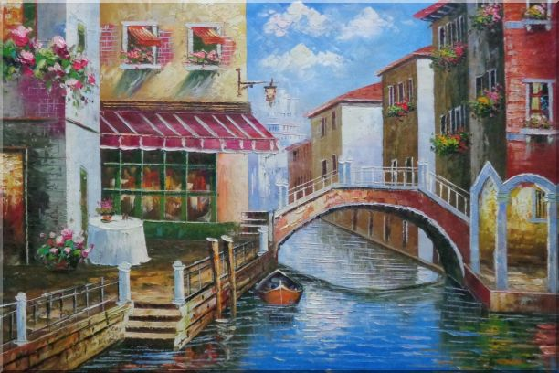 Venice Canal with Bridge and Gondolas in Summer Bright Day Oil Painting Italy Naturalism 24 x 36 Inches