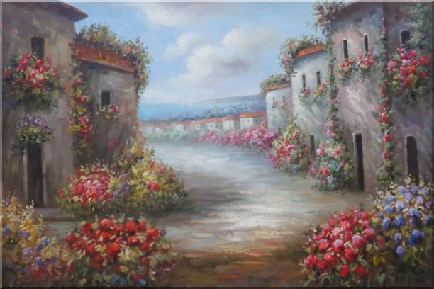 Flower Alley In a Beautiful Mediterranean Village Oil Painting Naturalism 24 x 36 Inches