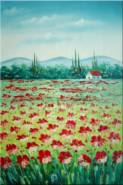 Tuscan Poppy Field Oil Painting Flower Landscape Naturalism 36 x 24 Inches