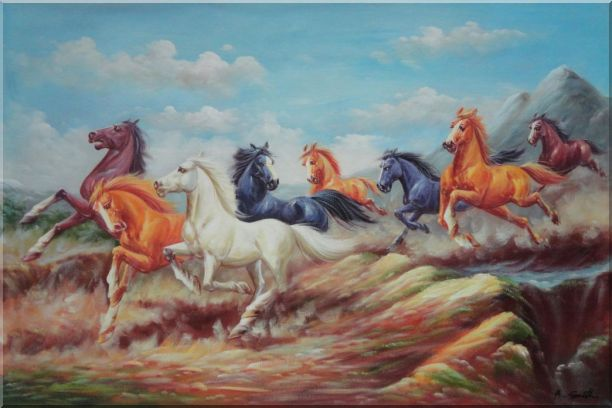 Eight Colorful Horses Galloping Joyously in the Wild Oil Painting Animal Naturalism 24 x 36 Inches