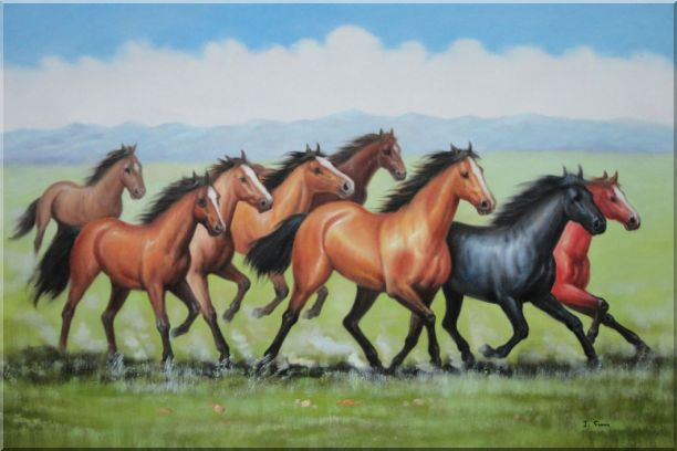 Eight Joyful Running Horses in the Wild Green Meadow Oil Painting Animal Naturalism 24 x 36 Inches
