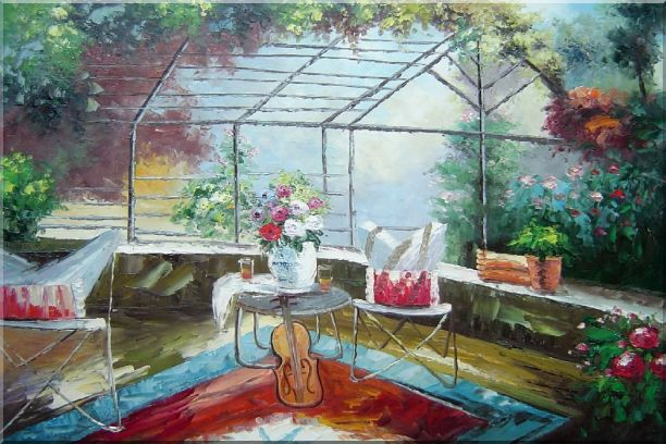 Garden Pleasure Oil Painting Italy Naturalism 24 x 36 Inches