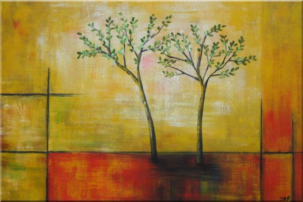 Modern Green Tree Painting Oil Landscape Decorative 24 x 36 Inches