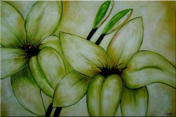 Blooming Yellow Lily in Springtime Oil Painting Flower Decorative 24 x 36 Inches