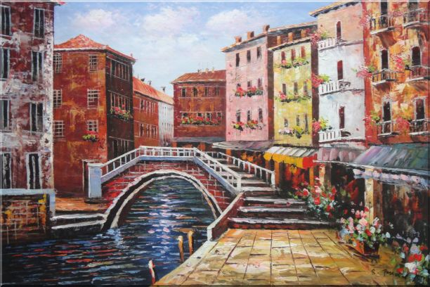 Venice Canal Bridge With Pretty Flowers Oil Painting Italy Naturalism 24 x 36 Inches