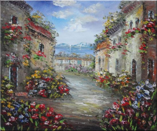 Mediterranean Village Street with Colorful Flowers Oil Painting Impressionism 20 x 24 Inches