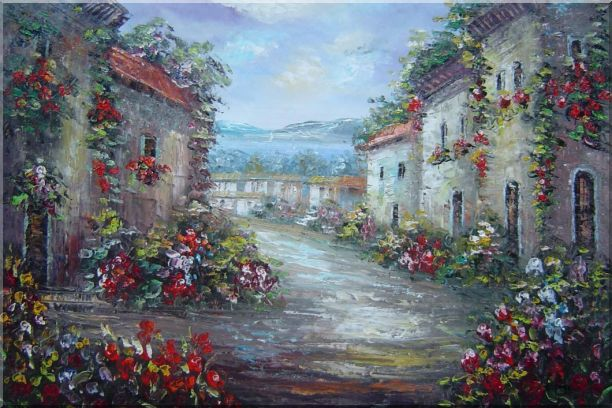 Mediterranean Village Street with Colorful Flowers Oil Painting Impressionism 24 x 36 Inches