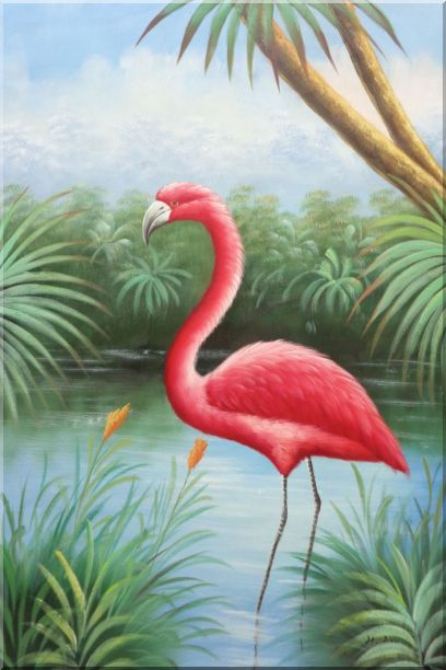 Red Flamingo On Pond Oil Painting Animal Bird Naturalism 36 x 24 Inches