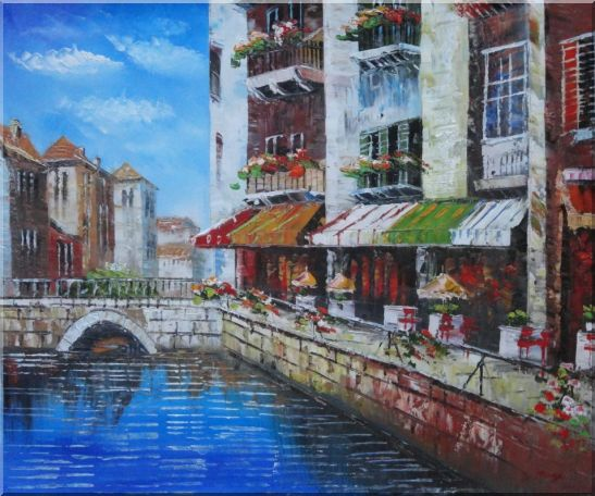 Venice Cafe Along Water Street Oil Painting Italy Naturalism 20 x 24 Inches